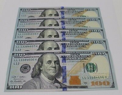5 New Uncirculated Hundred Dollar Bills Five  100 Notes  2009