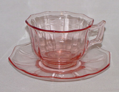 """IMMACULATE Vintage Pink Cambridge """"DECAGON"""" Cup & Saucer - 4 Sets Avail.!"""