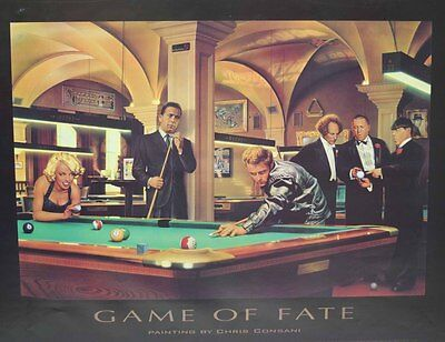 "Brand New Billiard Poster Game of Fate Art Billiards - 24"" x 32"" - FREE SHIPPING"