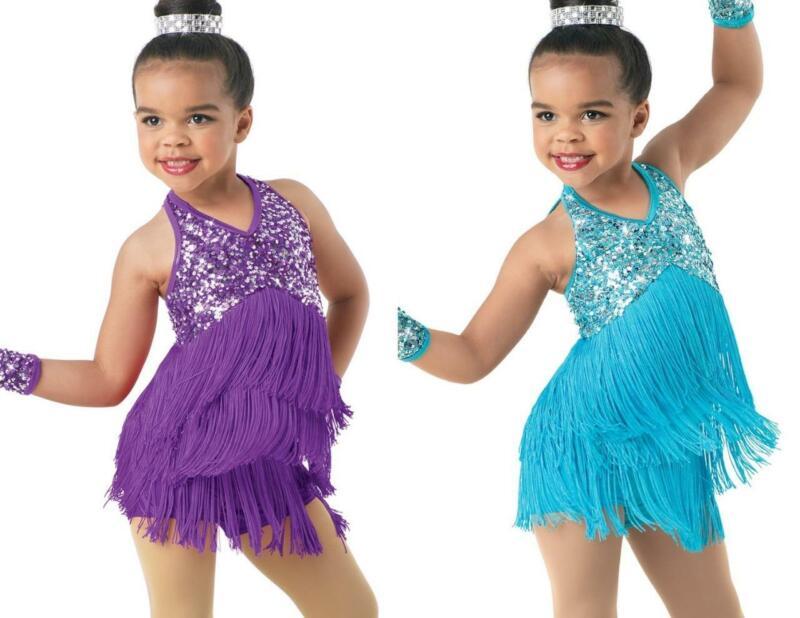 Dance Costume Child Sizes Purple or Blue Sequin Fringe Jazz Tap TRIO Weissman