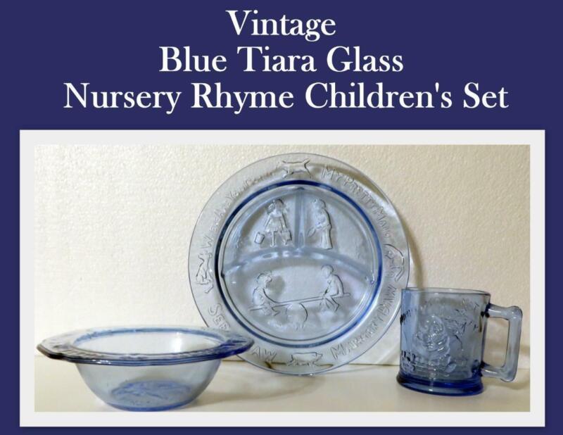 Vintage Blue Tiara Glass Nursery Rhyme Mug Humpty Tom Tom Miss Muffet 3 Blind