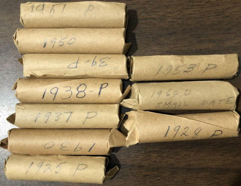 10 ROLLS 1925 1928 1930 1937 1938 1939 1950 51 ETC LINCOLN CENT COPPER COIN LOT
