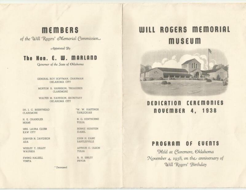 1938 Program of Events Will Rogers Museum Dedication Ceremonies Claremore Okla