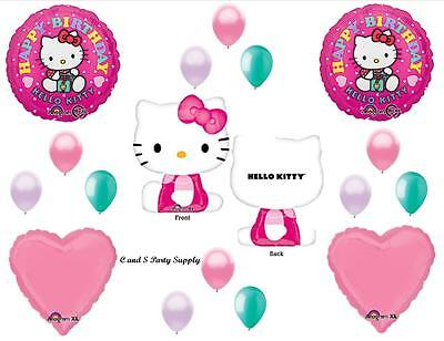 Hello Kitty Happy Birthday Party Balloons Decorations Supplies Cat 17 Pieces