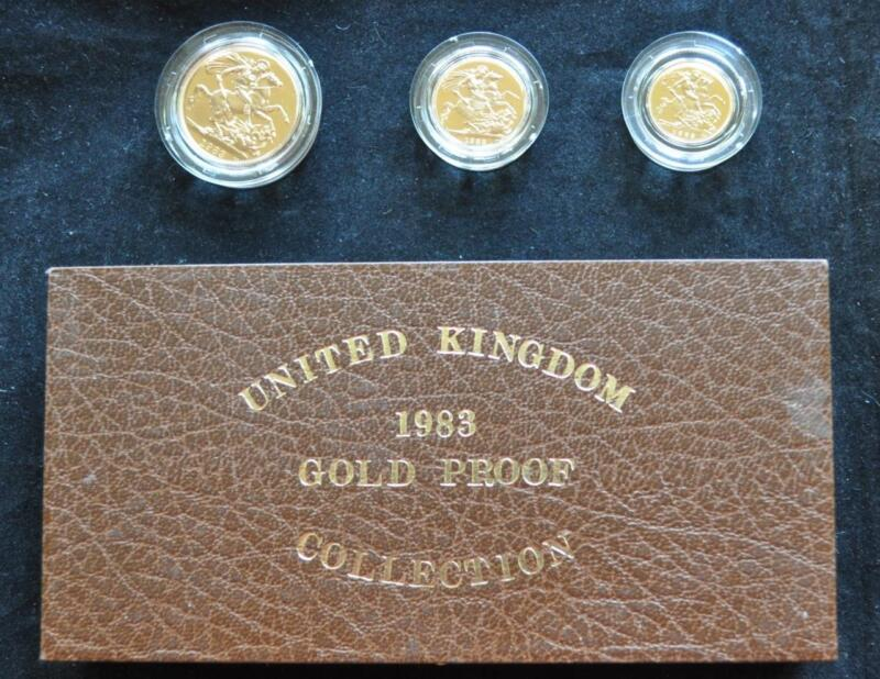 UK 1983 Royal Mint Gold Proof Three Coin Set with Case and COA