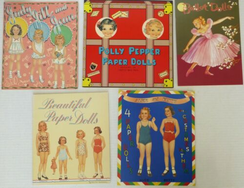 Lot of 5 Retro Style Paper Doll Books Featuring Children