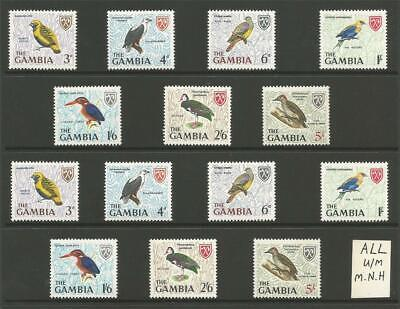 THE GAMBIA AFRICA STAMPS MINT 1966 BIRDS SELECTION U/M SUPERB LOT MNH to 5/-
