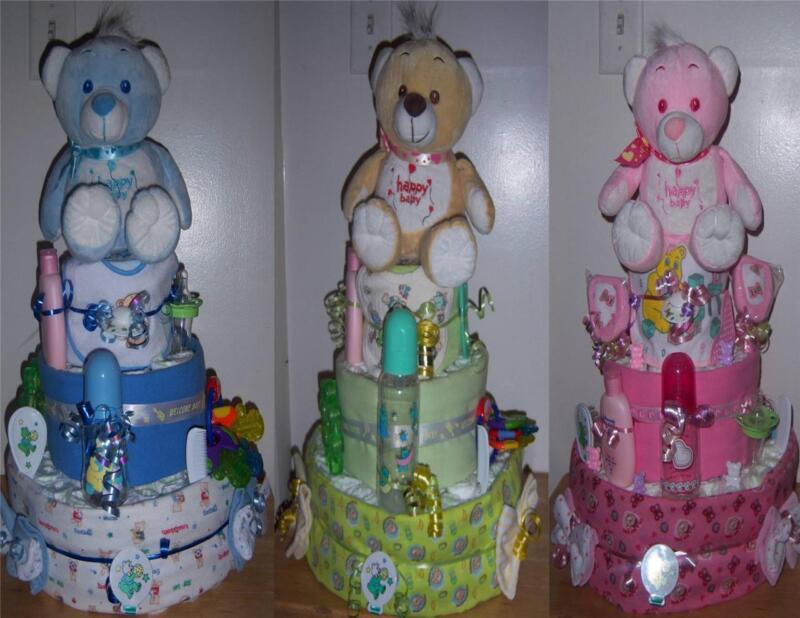 Baby Shower 3 Tier Bear Diaper Cake, Receiving Blankets, Bib, Bottle, Pacifier