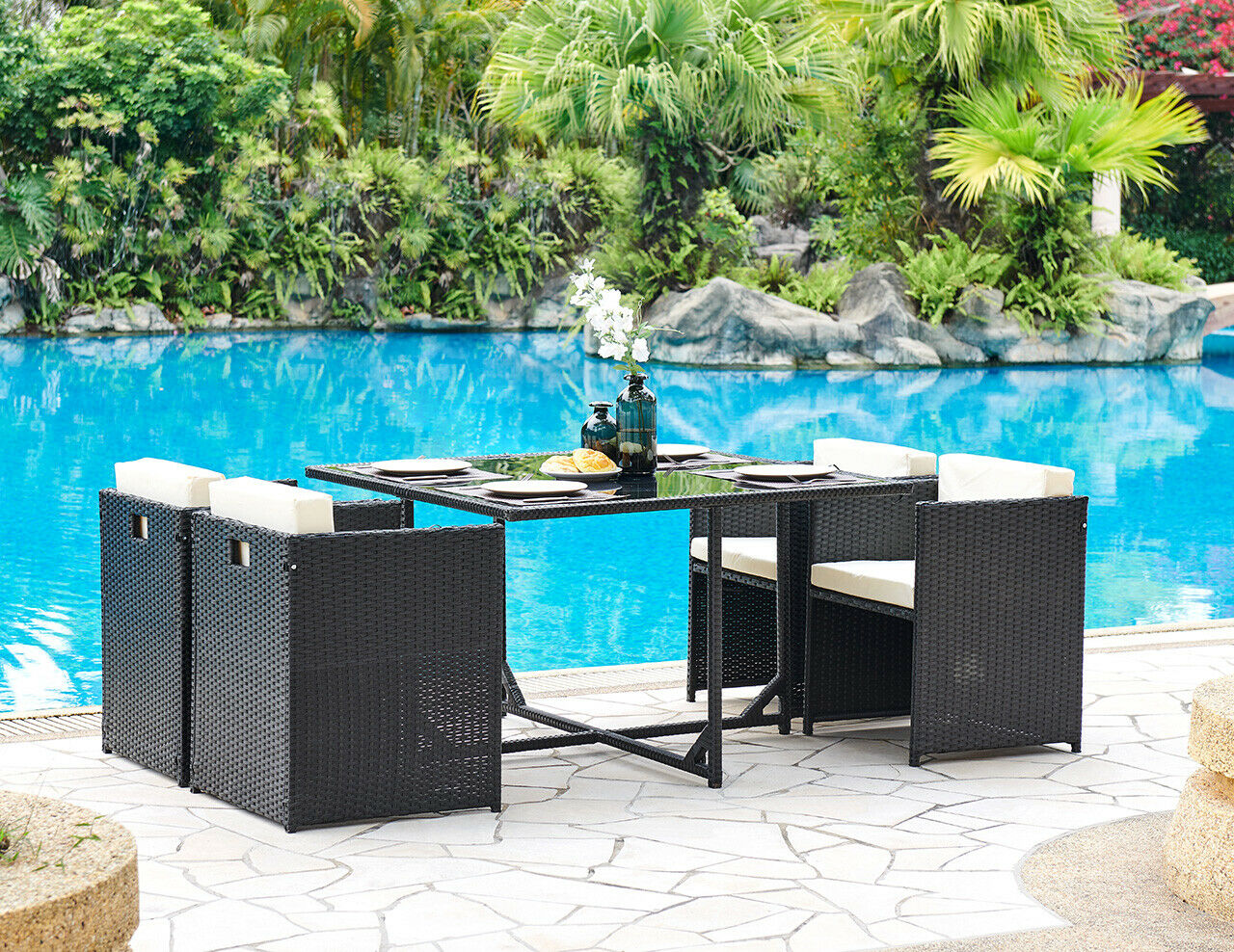 Garden Furniture - Cube Rattan Dining Set Black Grey or Brown Outdoor Garden Furniture Set 5pc