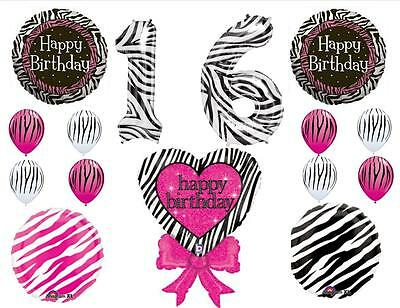 ZEBRA SWEET 16 Sixteen HAPPY BIRTHDAY BALLOONS Decorations Supplies Stripe NEW!!
