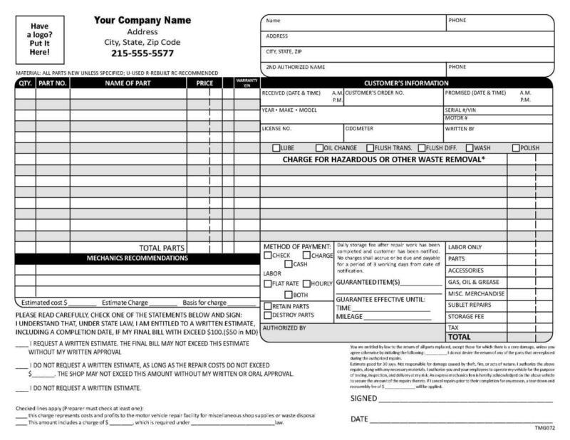 250 Garage Auto Repair Forms / 2 Part Carbonless / TMG072