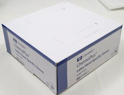 Box Of 100 - Covidien Ct0191-1 Chemoplus Latex Hand Specific Gloves - New Small