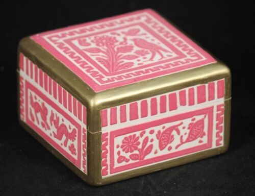Linaloe Wood Jewelry/Trinket Box Hand Made/Carved/Painted Mexican Folk Art Pink