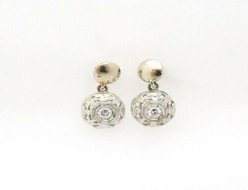 Art Deco Real Diamond 14k White Gold Filigree Articulated Screw Back Earrings