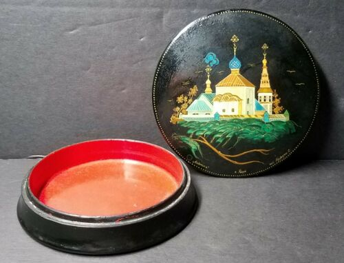 """Vintage Kholui Russian Lacquer Box ☆ Walled Cathedral ☆ Unique 4"""" Round Signed"""