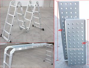 15-5-Ft-Multi-Purpose-Aluminum-Folding-Step-Platform-Scaffold-Ladder-330LB-15-5