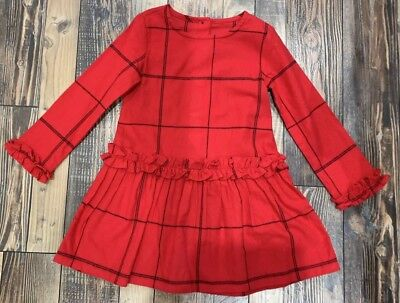 NWT Gymboree Holiday Plaid Red Black Dress Girls Christmas Size 4 - Girls Red Christmas Dresses