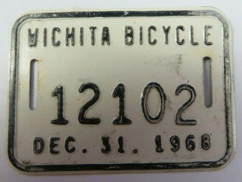 Vintage 1968 WICHITA, KANSAS Bicycle Tag License Plate Bike No. 12102