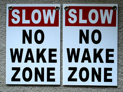 2 Slow - No Wake Zone 8 X12 Plastic Coroplast Signs With Grommets White