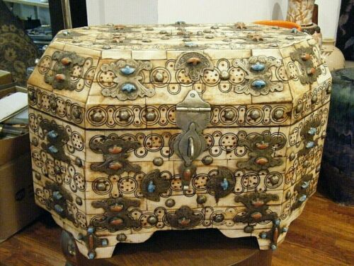 Vtg  Moroccan Sandok Dowry Chest Trunk Camel Bone Silver Coral Turquoise Leather