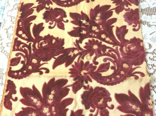"Antique c1890 French Christmas Red Home Dec Cotton Cut Velvet Fabric~L-40""X W21"""