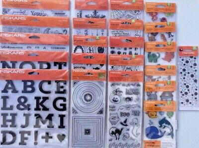 Lot of 22 Fiskars Acrylic/Rubber Stamps 4x8 and 8x8 Alphabet Wedding Borders NIP