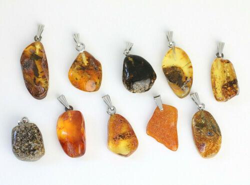Baltic AMBER PENDANTS 10, WHOLESALE Natural Amber Pendants, Lot of 10, 17 g