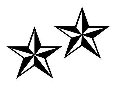 Tattoo Nautical Stars (Two Nautical Star Decals Sticker pair Truck SUV Boat punk rock tattoo JDM skate)