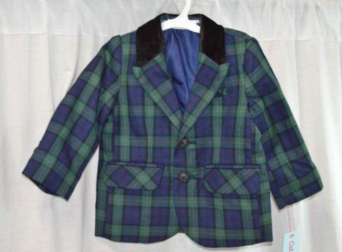 Cat and Jack, Toddler  Navy Blue Plaid Blazer Jacket with Velvet Collar