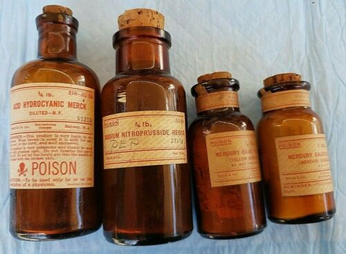 4 ANTIQUE MERCK POISON BOTTLES