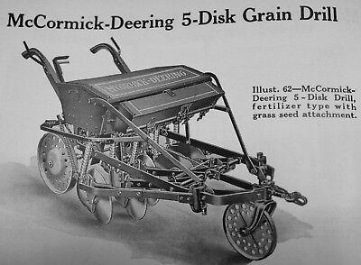 Ihc Mccormick-deering 5 Disk Drill Walk Behind Horse Drawn Grain Drill Manual Ih