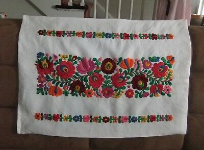 Hungarian Linen (Hand embroidered Hungarian FOLK EMBROIDERY FLORAL Linen PILLOW COVER Kalocsa  )
