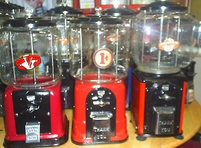 3 VINTAGE Victor gum machine fully restored  Red & Black 1940's / 1946 / 1950's