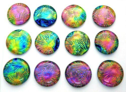 Lot 12 pcs round gorgeous DICHROIC earrings bracelet FUSED GLASS (M6) CABOCHONS