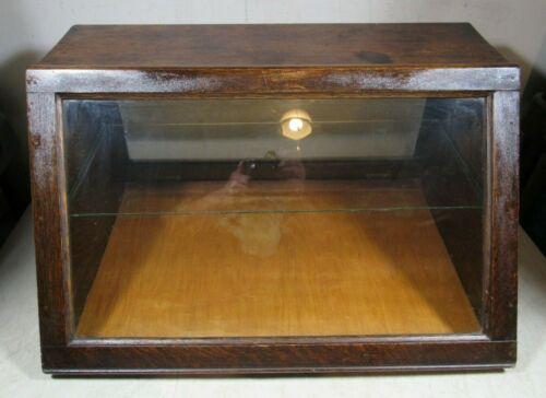 Vintage/Antique Oak Wood Slant Front Glass Counter Top Display Case W/Shelf