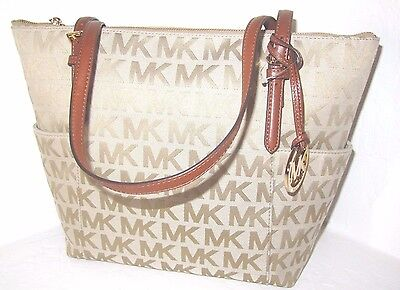 Michael Kors Jet Set Top Zip Side Pocket Camel Signature EW Tote Bag NWT $248