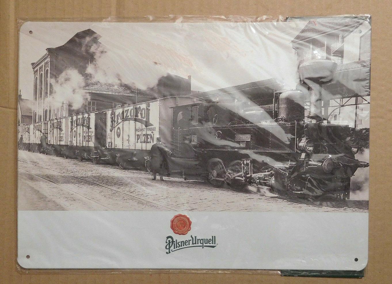 Neu) Blechschild Pilsner Urquell Eisenbahn Bierwagen Zug , geprägt 30x20cm