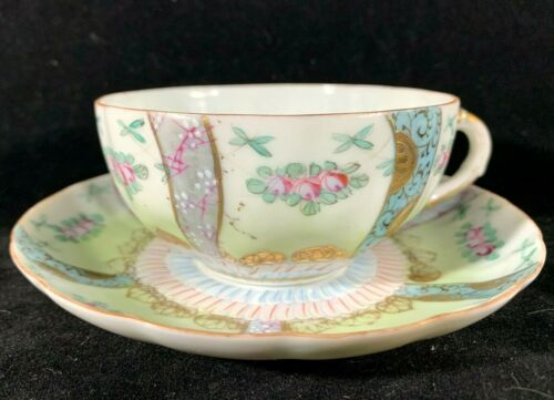Chinese Antique Famille Rose Eggshell Porcelain Teacup Set
