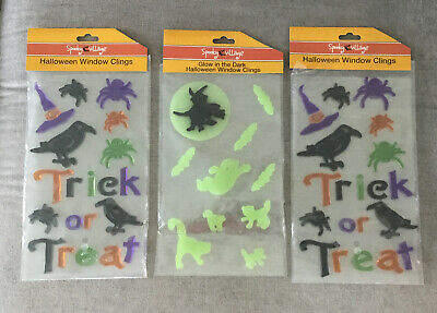 3 Packs Halloween Themed Reusable Gel Window Clings Witch Spider Glow In The Dar
