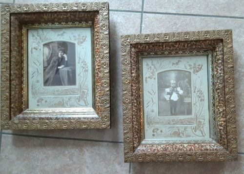 Two Antique Victorian Wood,Gesso, Sponge Marble Paint with Photos Picture Frames