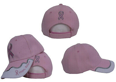Pink and White Breast Cancer Hope Believe Pink Ribbon Baseball Cap Hat CAP971