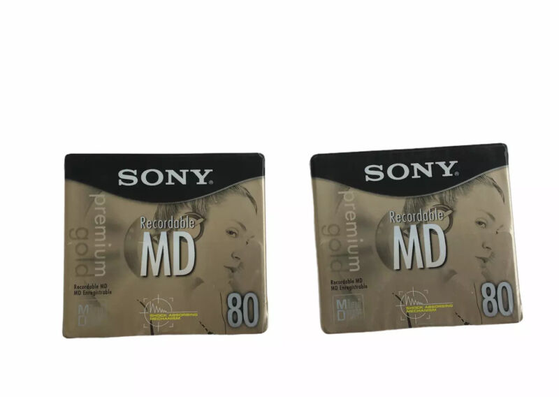 Sony Recordable MD 80 Premium Gold Minidisc (2) (SEALED)