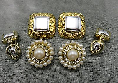 3 Pair Liz Claiborne Vintage Clip Earrings Faux Pearl Gold Silver Modernist 817f