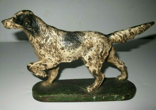 Vintage Original Cast Iron Hubley Setter Pointer Dog with Base, Original Paint