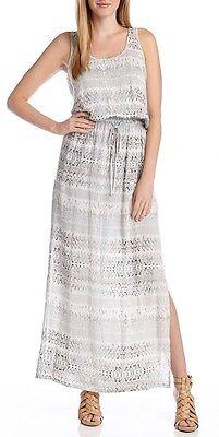 Karen Kane 1L45143 Light Blue Colors Beach Stripe Drawstring Maxi Dress -$99