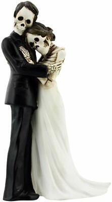 Halloween Wedding Cake Topper (Love Never Dies Wedding Couple Embracing Skeleton Halloween Wedding Cake Topper)