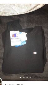 Black men's Champion sweatshirt, perfect condition with tags on as bought new and never worn.