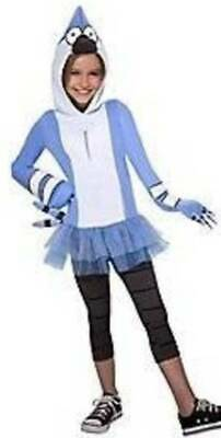 Girls The Regular Show Mordecai 2 Pc Blue White Hooded Halloween Costume- 12/14