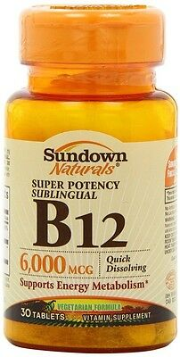 Sundown Naturals Sublingual B-12 6000 Mcg Tablets, 30 Cou...