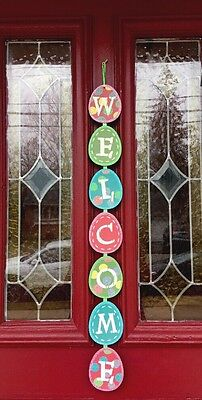 Egg Wreath (Easter Bunny Egg Welcome Door Wreath Wall Hanging Sign Pick Spray Decor Swag)